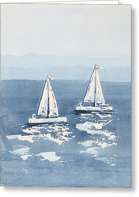 Recently Sold -  - Blue Sailboat Greeting Cards - Sailboats watercolour 1 Greeting Card by Steve and Jenni Thorp