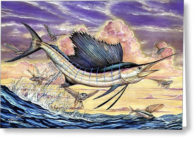 Terry Fox Greeting Cards - Sailfish And Flying Fish In The Sunset Greeting Card by Terry Fox