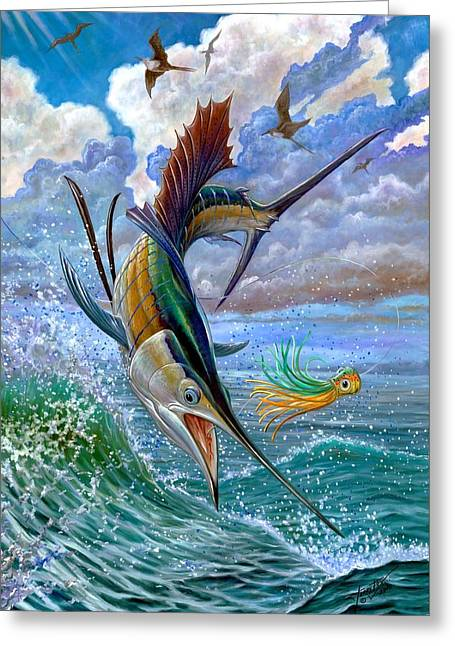 Vela Greeting Cards - Sailfish And Lure Greeting Card by Terry Fox