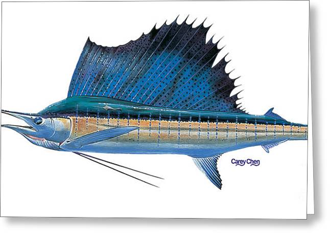 Striped Marlin Paintings Greeting Cards - Sailfish Greeting Card by Carey Chen