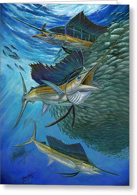 Vela Greeting Cards - Sailfish With A Ball Of Bait Greeting Card by Terry  Fox