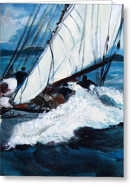 Full Skirt Paintings Greeting Cards - Sailing Greeting Card by Betty Pieper