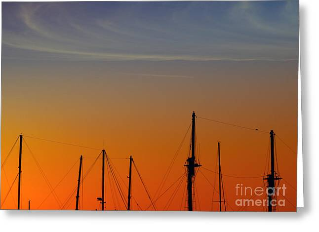 Blue Sailboat Greeting Cards - Sailing Boats Greeting Card by Stylianos Kleanthous