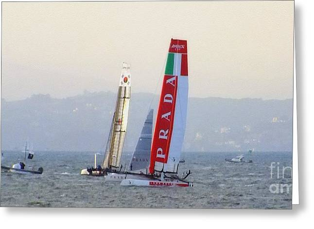 Best Sailing Photos Greeting Cards - Sailing for Americas Cup Greeting Card by Scott Cameron