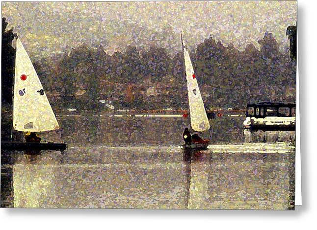 Cat Reflection Greeting Cards - Sailing in the Rain Greeting Card by Ron Regalado