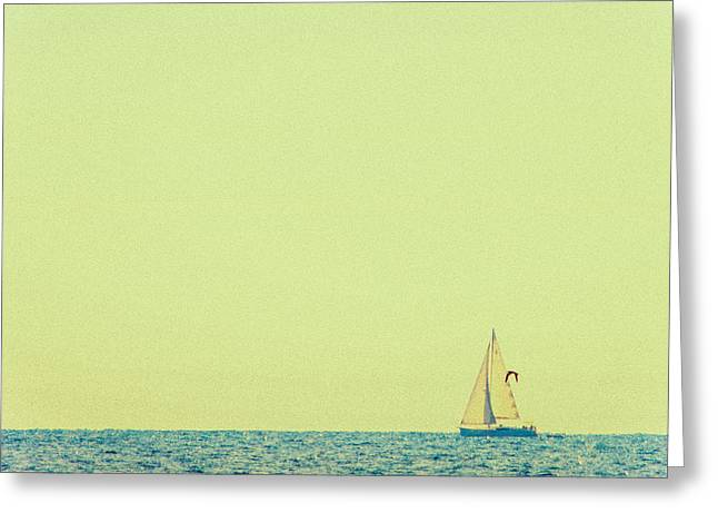Sailing Boat Greeting Cards - Sailing on the blue sea Greeting Card by Constance Fein Harding