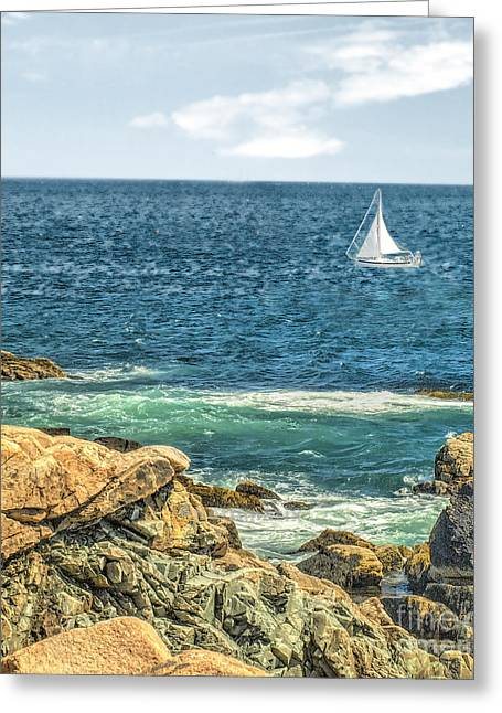 Blue Sailboats Greeting Cards - Sailing Greeting Card by Raymond Earley