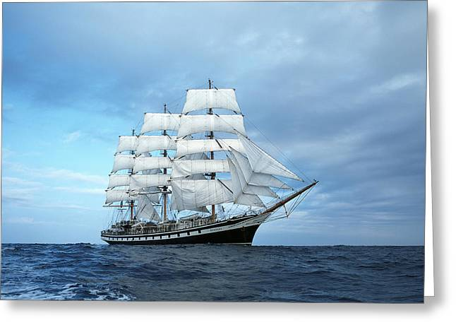 Blue Sailboat Greeting Cards - Sailing ship Greeting Card by Anonymous