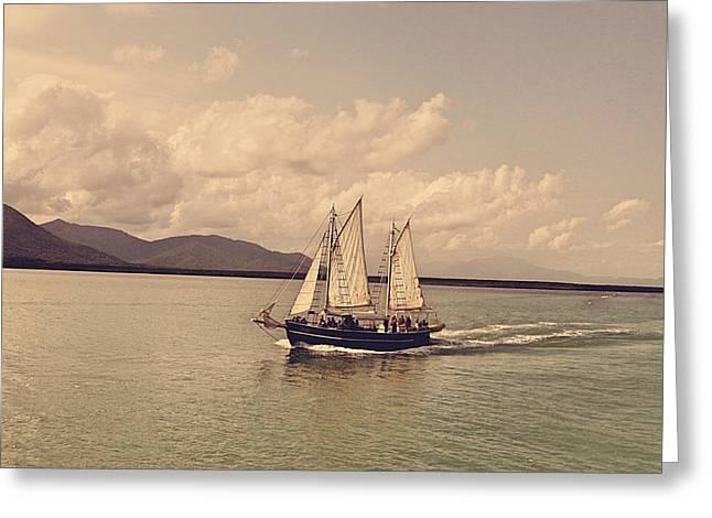 Yacht Greeting Cards - Sailing Ship Greeting Card by Girish J