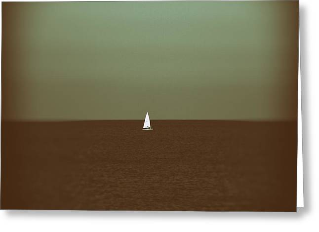 Blue Sailboats Greeting Cards - Sailing Greeting Card by Stylianos Kleanthous