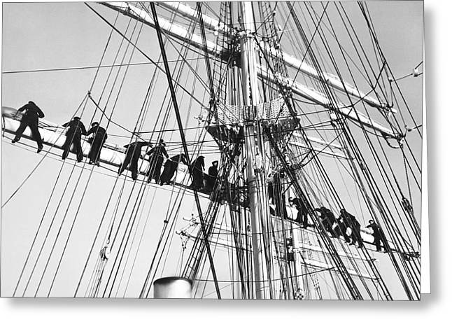 Sailing Ship Greeting Cards - Sailors In The Rigging Greeting Card by Underwood Archives