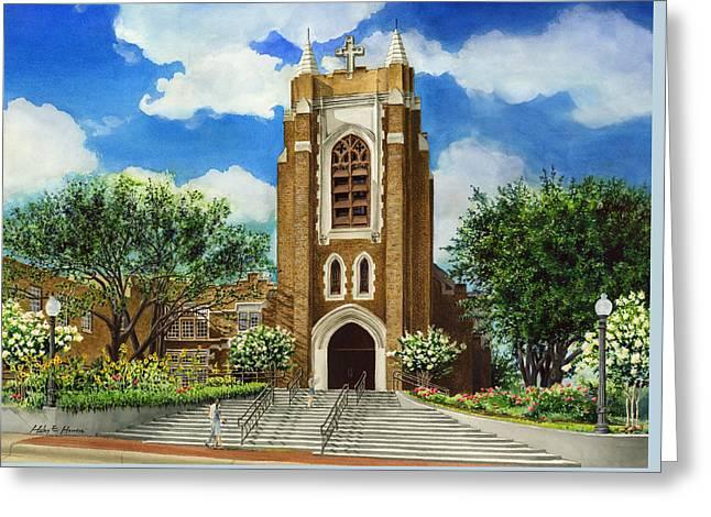 Gothic Revival Greeting Cards - Saint Andrews Episcopal Church Bryan Texas Greeting Card by Hailey E Herrera
