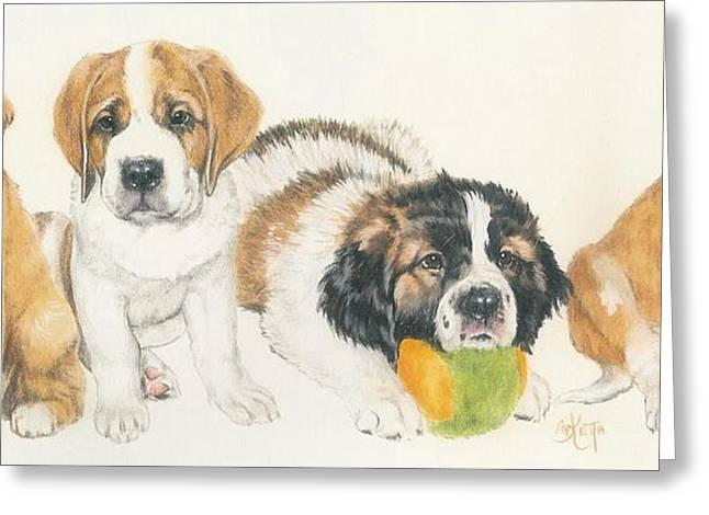 Working Dog Mixed Media Greeting Cards - Saint Bernard Puppies Greeting Card by Barbara Keith
