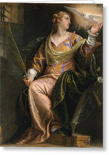 Catherine Greeting Cards - Saint Catherine of Alexandria in Prison Greeting Card by Paolo Veronese