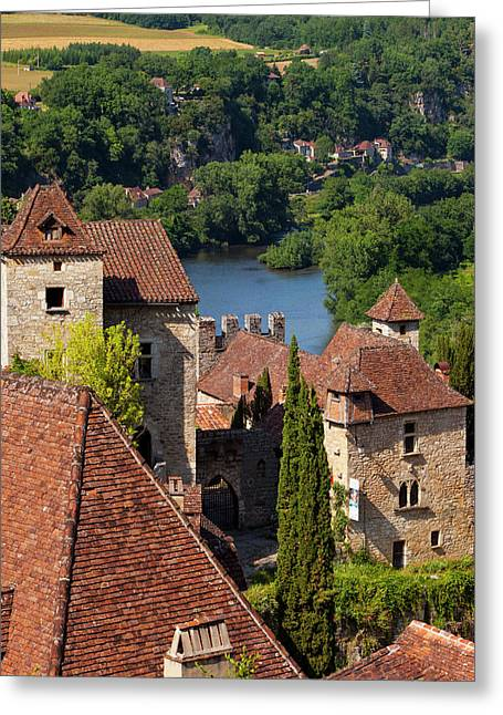 Saint-cirq-lapopie In The Lot Valley Greeting Card by Brian Jannsen
