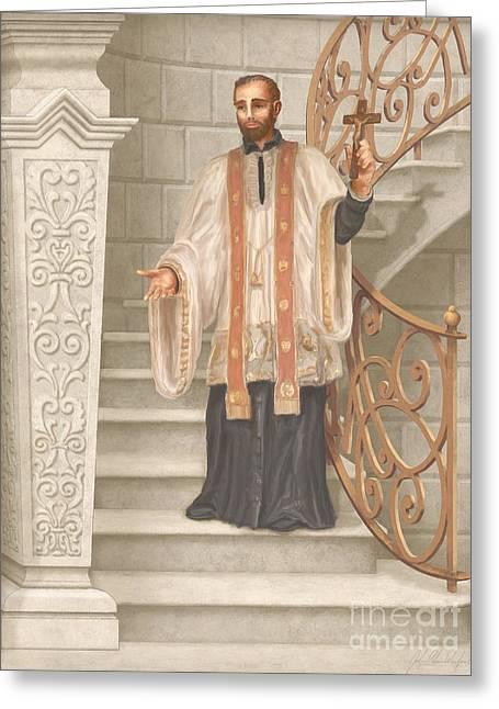 Saint Francis Greeting Cards - Saint Francis Xavier Greeting Card by John Alan  Warford