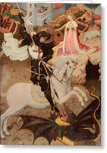 Knights Castle Paintings Greeting Cards - Saint George Killing the Dragon Greeting Card by Bernat Martorell