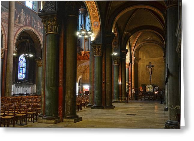 Gothic Crucifix Greeting Cards - Saint Germain des Pres - Paris Greeting Card by RicardMN Photography