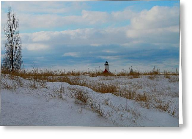 Snowstorm Greeting Cards - Saint Joseph Lighthouse Greeting Card by Dan Sproul