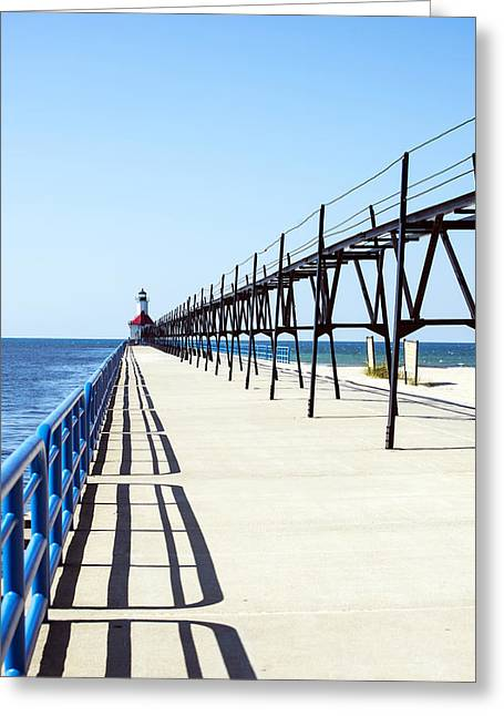 Green Day Greeting Cards - Saint Joseph Michigan Inner Lighthouse Sunny Day at Silver Beach Greeting Card by Sally Rockefeller