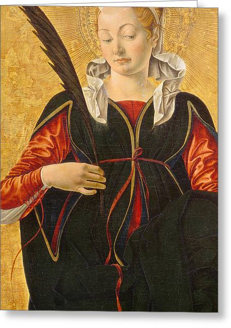 Martyrs Greeting Cards - Saint Lucy Greeting Card by Francesco del Cossa