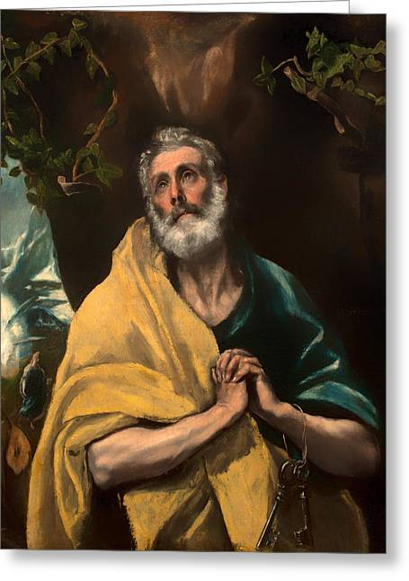 Religious Artwork Paintings Greeting Cards - Saint Peter in Tears Greeting Card by El Greco
