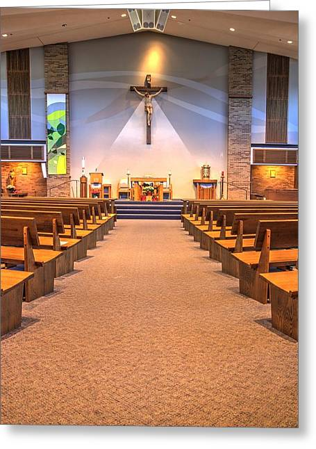 The Wooden Cross Greeting Cards - Saint Peters Catholic Church Greeting Card by Amanda Stadther