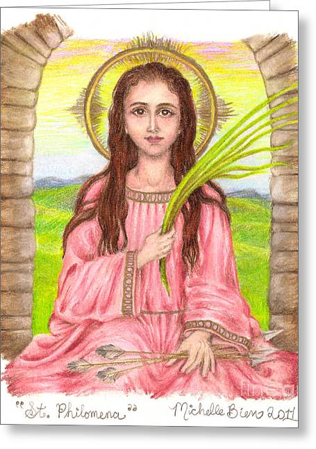 Martyrs Drawings Greeting Cards - Saint Philomena Greeting Card by Michelle Bien