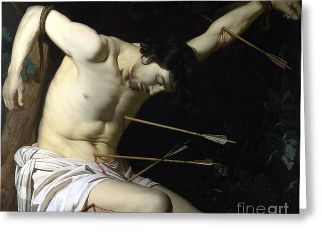 1656 Greeting Cards - Saint Sebastian Greeting Card by Celestial Images