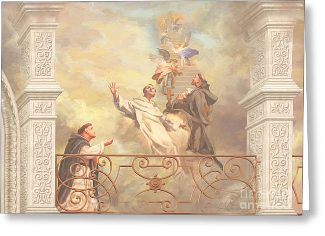 Benedict Greeting Cards - Saints Dominic Benedict and Francis of Assisi 2 Greeting Card by John Alan  Warford