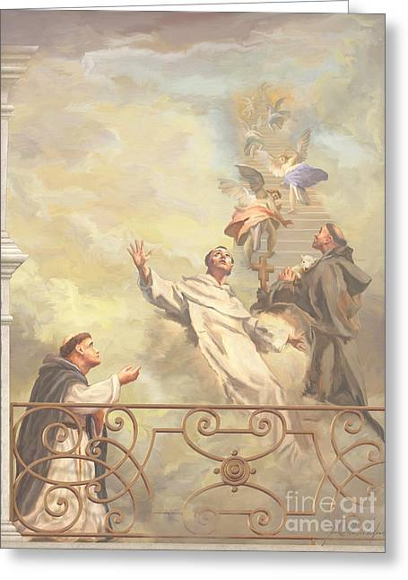 Prayer Of St. Francis Of Assisi Greeting Cards - Saints Dominic Benedict and Francis of Assisi II Greeting Card by John Alan  Warford