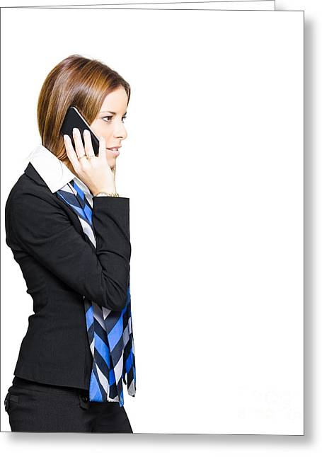 Cellphone Greeting Cards - Sales And Marketing Business Woman Greeting Card by Ryan Jorgensen