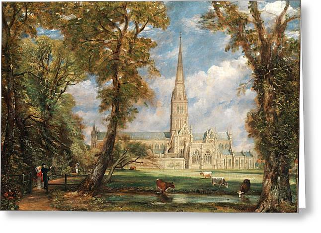 Constable Greeting Cards - Salisbury Cathedral from the Bishops Grounds Greeting Card by John Constable