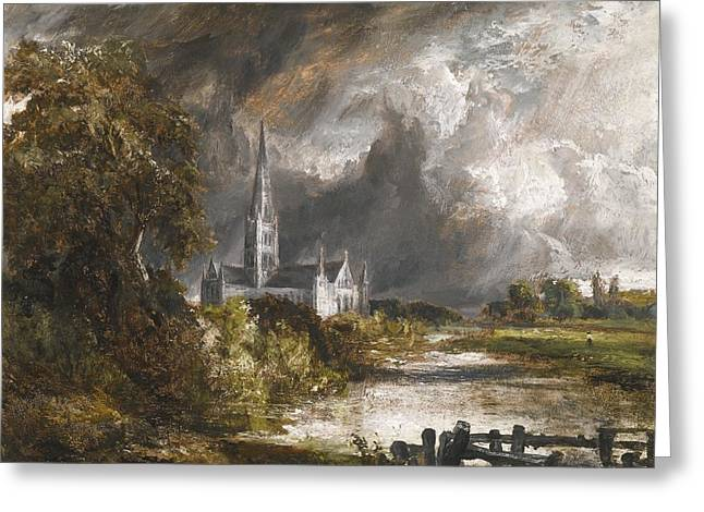 Constable; John (1776-1837) Greeting Cards - Salisbury Cathedral From The Meadows Greeting Card by John Constable