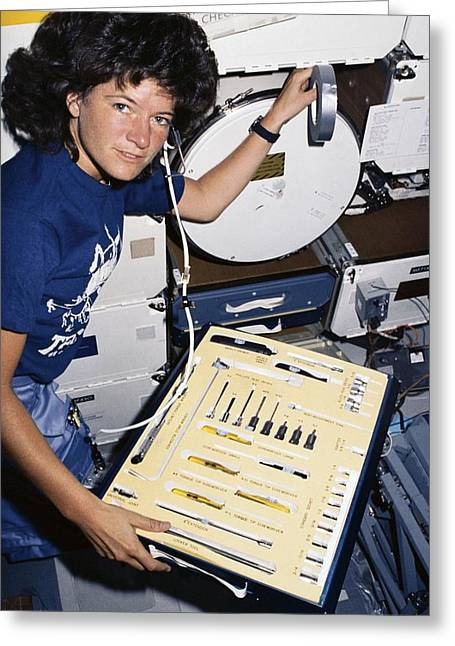 1980s Greeting Cards - Sally Ride on space shuttle Challenger Greeting Card by Science Photo Library