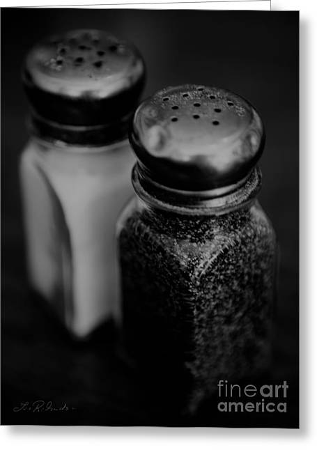Commercial Photography Greeting Cards - Salt and Pepper Shaker Black and White Greeting Card by Iris Richardson