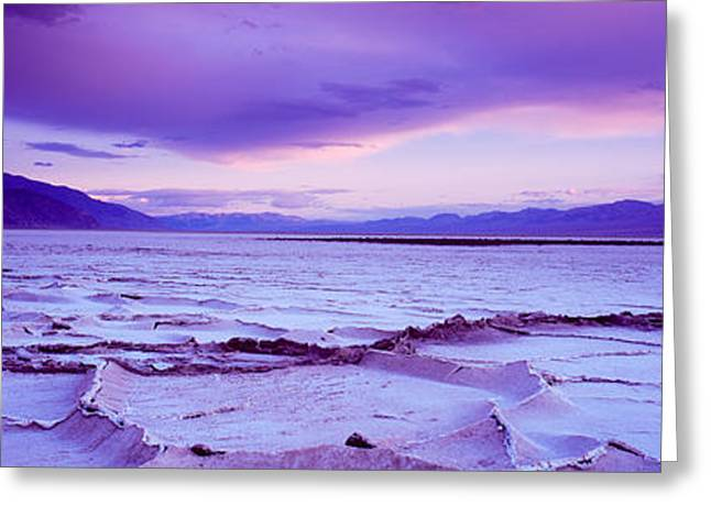 Salt Flat Images Greeting Cards - Salt Flat At Sunset, Death Valley Greeting Card by Panoramic Images