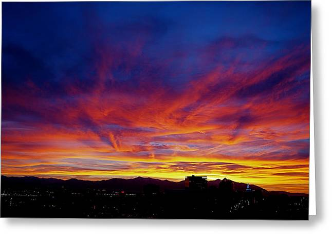 Downtown Photographs Greeting Cards - Salt Lake City Sunset Greeting Card by Rona Black