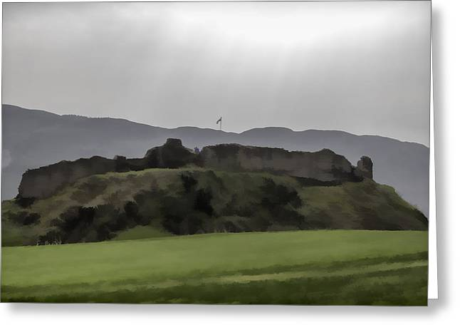 Building Greeting Cards - Saltire and the ruins of the Urquhart Castle Greeting Card by Ashish Agarwal