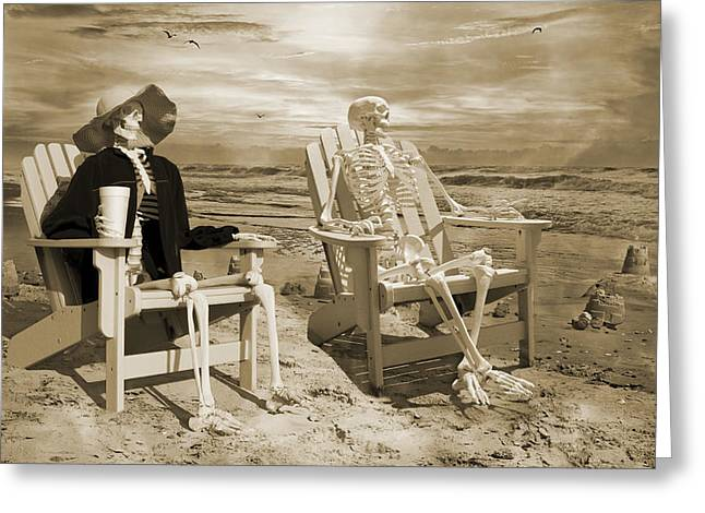 Sam Exchanges Tales With An Old Friend Greeting Card by Betsy C Knapp