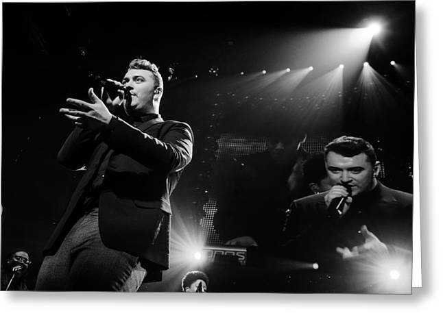 British Celebrities Greeting Cards - Sam Smith in Concert Greeting Card by SartorialPhotos Wire Service
