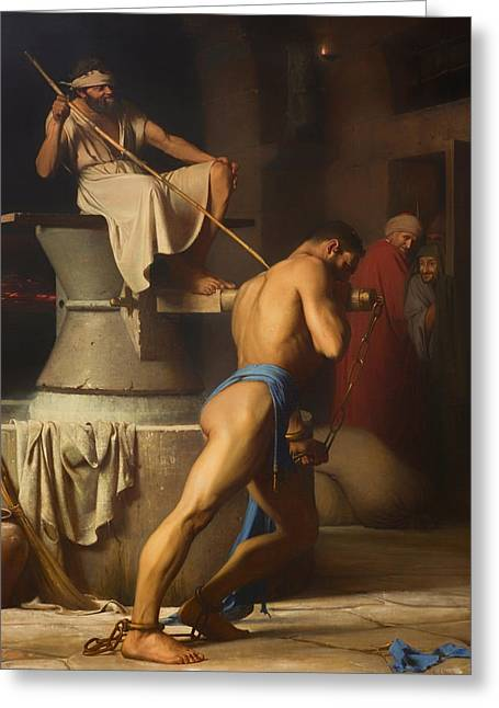 Religious Artwork Paintings Greeting Cards - Samson and the Philistines Greeting Card by Carl Bloch
