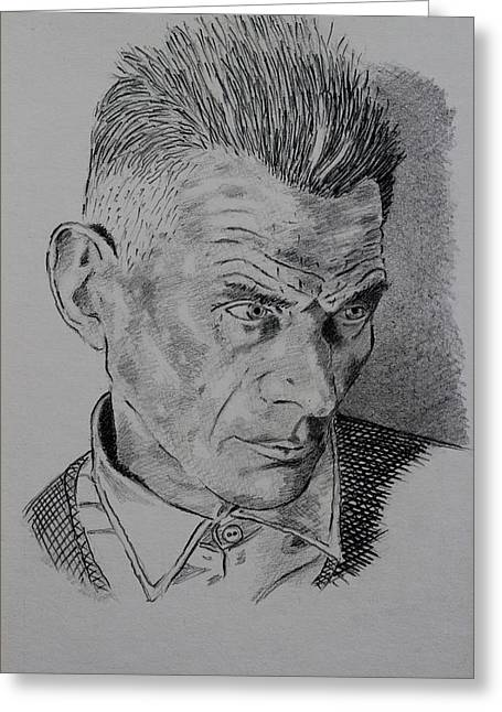 Art Book Greeting Cards - Samuel Beckett Greeting Card by John  Nolan