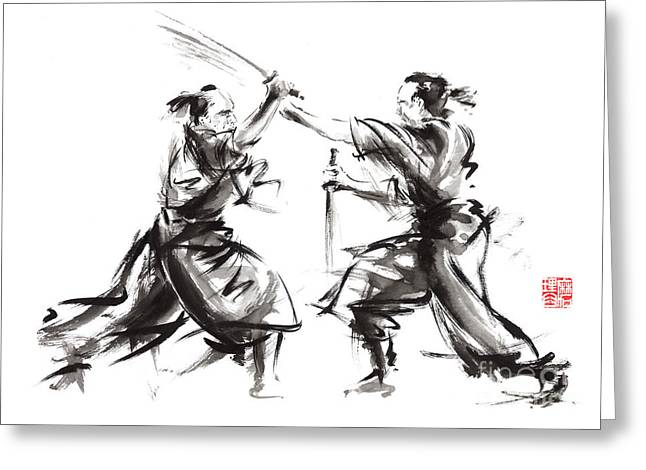 E Black Greeting Cards - Samurai sword bushido katana martial arts budo sumi-e original ink sword painting artwork Greeting Card by Mariusz Szmerdt