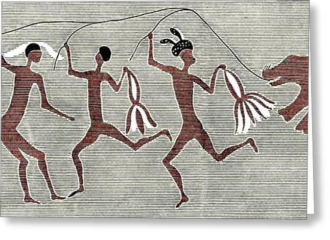 False Power Greeting Cards - San Bushmen Rain Dance, Artwork Greeting Card by Sheila Terry