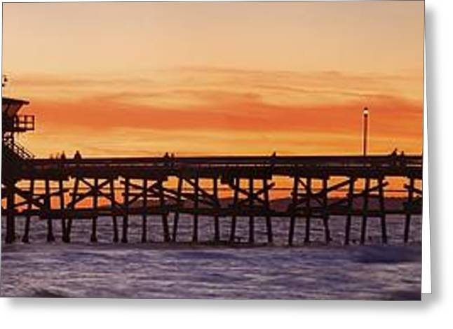 Clemente Greeting Cards - San Clemente Municipal Pier In Sunset Greeting Card by Richard Cummins