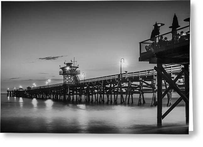 Ocean. Reflection Greeting Cards - San Clemente Pier at Sunset Greeting Card by Mountain Dreams
