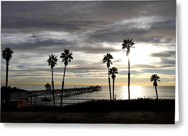 Clemente Pyrography Greeting Cards - San Clemente Pier at Sunset Greeting Card by Roger Merrill