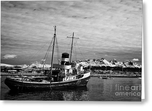 Saint Christopher Photographs Greeting Cards - san cristobal saint christopher tugboat wreck in Ushuaia Argentina Greeting Card by Joe Fox