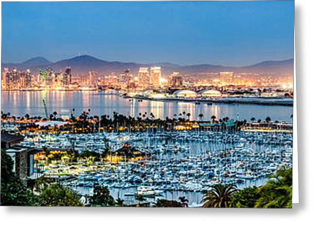 Sailboat Photos Greeting Cards - San Diego Bay Panoramic Greeting Card by Josh Whalen